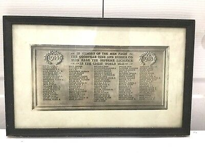 Rare 1918 Wwi Goodyear Tire & Rubber Workers Memorial Plaque Photograph !