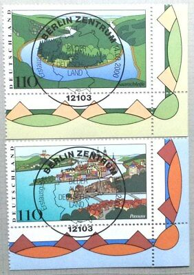 Germany 2000 : Water landscapes. Corner stamp set with special cancel
