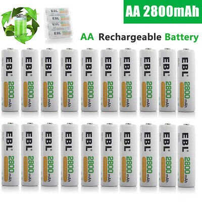 EBL 2800mAh AA Rechargeable Batteries 1.2V NI-MH Battery For Camera Flashlight