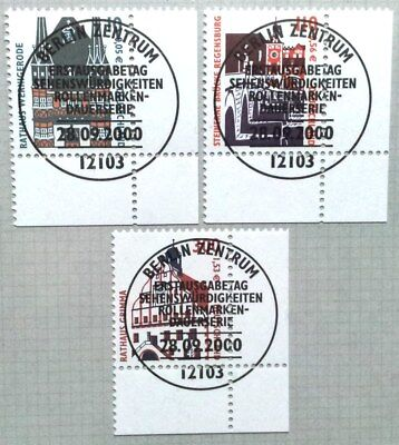Germany 2000 : Definitives Buildings. Corner stamp set with special cancel