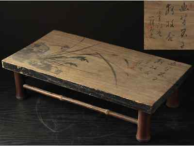 Qing Dynasty Stool Flower Table Stand singed INK PAINTING / W 45.5×D 24×H12 [cm]