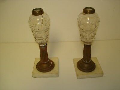 Antique Oil Lamps Pair Pressed Glass Font