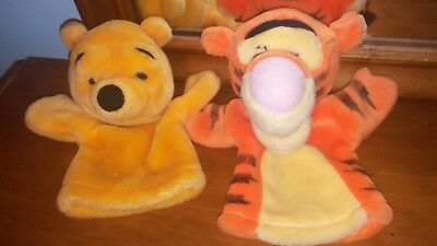 """8"""" Mattel: Winnie the Pooh and Tigger plush hand puppets"""
