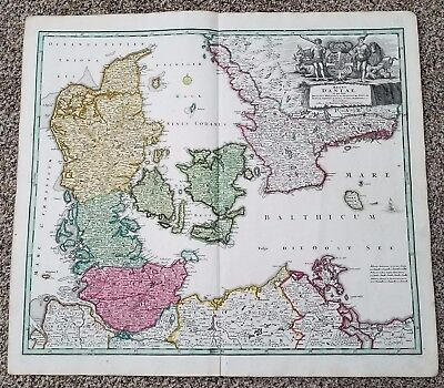 Antique Map-Denmark old Map Regni Daniae in quo Homann 1744