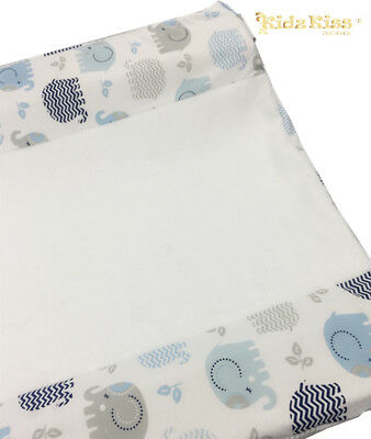 [3 Sets] KIDZ KISS Jersey Velour Fitted Change Mat Cover [Eddy Elephant / Blue]