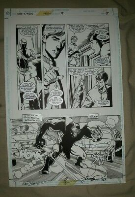 Teen Titans art page Issue 18 Page 18 Dan Jurgens George Perez signed 1998
