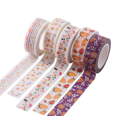 10M Adhesive Floral Flower Washi Masking Tape Scrapbooking Sticker DIY Decor