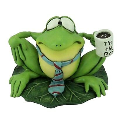 Ribbitz By Warren Stratford New Collectible Frog Boss Wears Tie Figurine