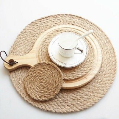Heat Placemats  Hot Round Rattan Coasters Straw Pad Insul Dining Placemat Flax