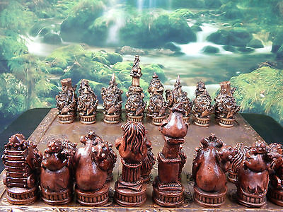 Wizards V Ogres Chess Set, Customisable Colours (Pieces only/Board Not inluded)