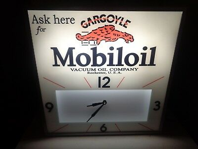 Vintage Lighted Clocks Mobil Gargoyle Clock Sign  Standard Ess0 Marathon Chevron