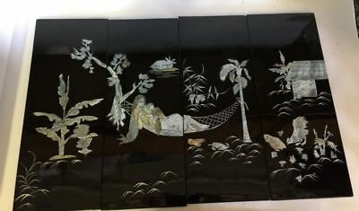 Set 4 Vintage Oriental Black Lacquer Inlaid Mother Of Pearl Shell Wall Hanging