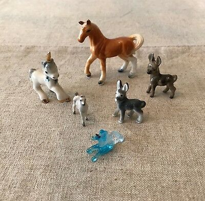 Lot of 6 Vintage Miniature Horse, Donkey, Unicorn Figurines - Ceramic & Glass