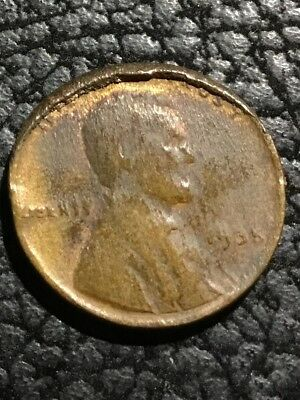 1935 Lincoln Wheat Cent - Struck Thru Grease & Huge Rim Cud 10-2  - Inv#5636