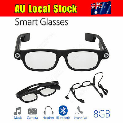 Smart Glasses Bluetooth 4.0 8GB TF Card Headphone Headset Wireless For Cycling