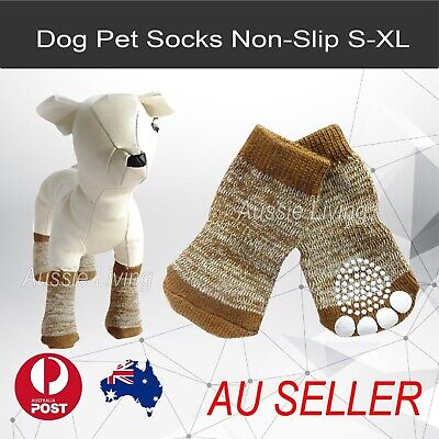 Dog Socks Non-Slip S M L XL Snow Brown - Puppy Cat Pet Shoes Slippers