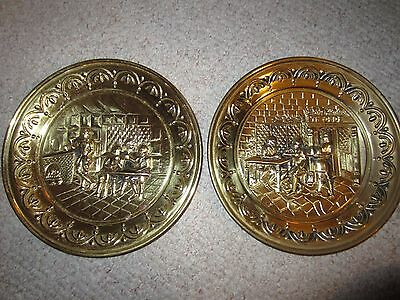 """Two Vintage Round Pressed Brass 10"""" Wall Hangings"""