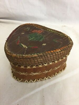 Native American Indian Porcupine Quill Birch Box. Great Colors