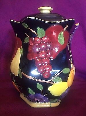 Nonni's Biscotti Cookie Jar Large Canister 3D Fruit Raised Blue Red Yellow Vtg