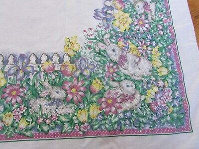 "Vintage Easter Table Cloth W/ Bunnies, Rabbits, Flowers, Picket Fence  54"" X 83"""