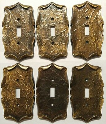 Lot of 6 Vintage Amerock Carriage House Brass Finish Metal Light Switch Covers
