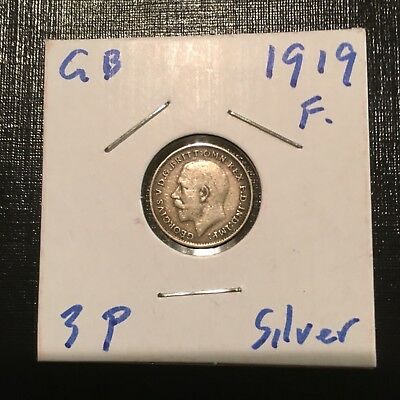 1919 XF Great Britain Silver 3 Pence .9250 Silver; King George VI
