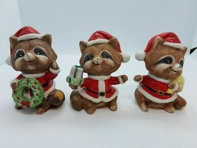 Vintage Homco Set of 3! Christmas Raccoon's Santa Suit Figurines COMPLETE SET!