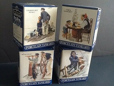 Set Of 4 Norman Rockwell Porcelain Seafare Tankards Long John Silvers Collection