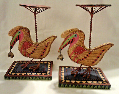MARSHA McCARTHY Amazonian Beaded Bird Carved Art Candle Holder EUC