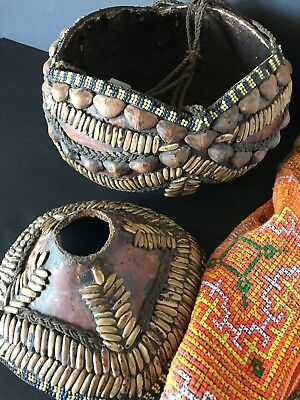 Old African Water / Food Carrying Gourde with Lid & Hanging Cord …beautiful...