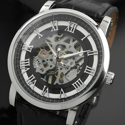 Man Hand-Wind Up Mens Watch Mechanical Vintage Gold Skeleton Steampunk New