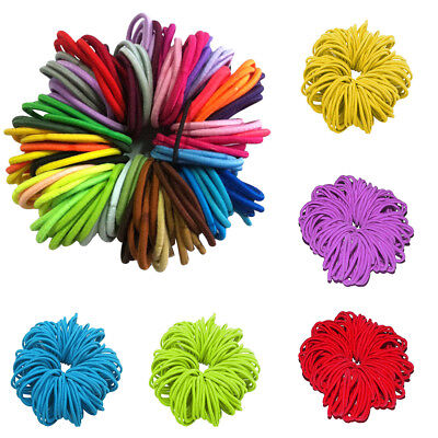 Kids Girls 50Pcs Thick Endless Snag Free Hair Elastics Bobbles Bands Hoops Nice