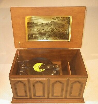 Vintage Thorens Swiss Music Box With 16 Metal Discs Serviced Looks & Works Great