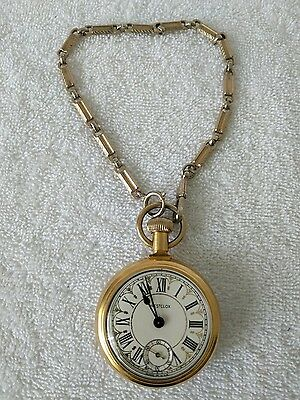 VIntage-Westclox-Pocket-Watch-w-Train-engraving-WORKS-( With Chain  )