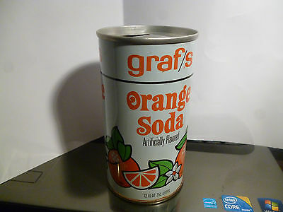 Grafs Orange Soda Straight Steel Pull Tan Can Old Nice and Clean
