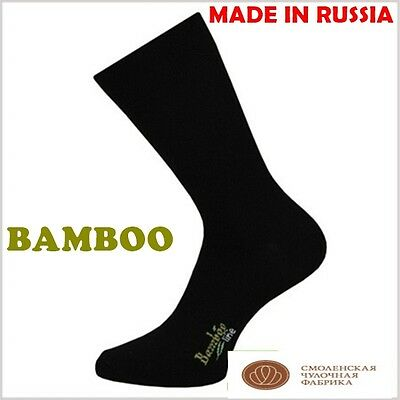 5 pairs SET of men's black BAMBOO dress socks. Made in RUSSIA. Hight quality.