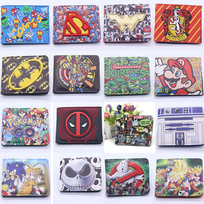 Deadpool Star Wars Harry Potter Wallet Bifold Coin Faux Leather Rubber Purse