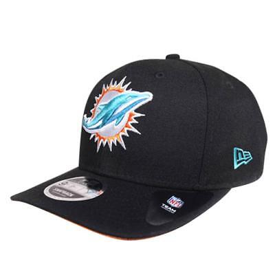 Miami Dolphins New Era NFL 9Fifty Pre-Curved Hat Baseball Cap In Black