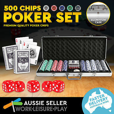 500 Poker Chip Set with Aluminium Case Playing Cards Dice Casino Size Gamble