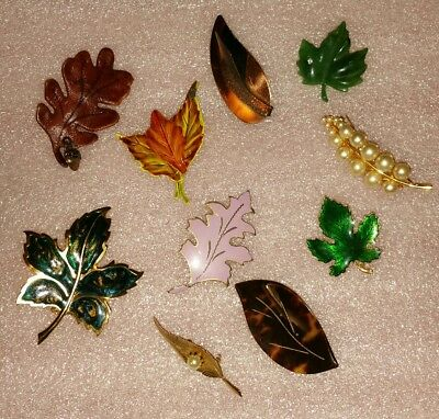 Lot of 10 Vintage Metal Leaf Brooches Pins in Mixed Materials, Faux-Pearl Enamel