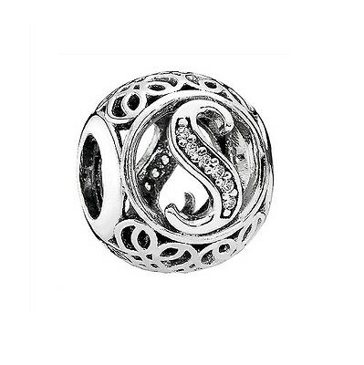 S925 Sterling Silver EURO Vintage Letter S CZ Openwork Charm by Pandora's Angels