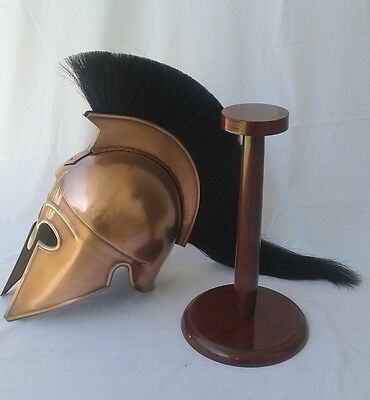 Medieval Greek Corinthian Helmet Brass Finished with Stand Black Plume Replica