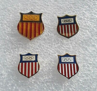 Lot of four: Team USA Olympic Shield Pins -- various sizes and finishes