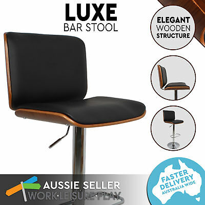 NEW Wooden Bar Stool Kitchen Chair Dining PU Leather Luxury Gas Lift PERTH METRO