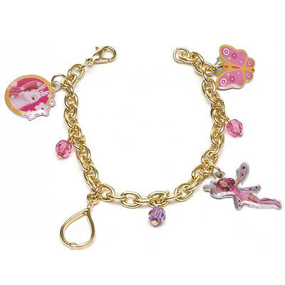 MIA E ME bracelet golden with 4 pendants 3 mini pearls coloured baby
