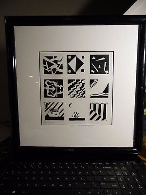 Original Collage Painting Drawing Mixed Media Signed by ASHLEY WETHERILL 14 X 14
