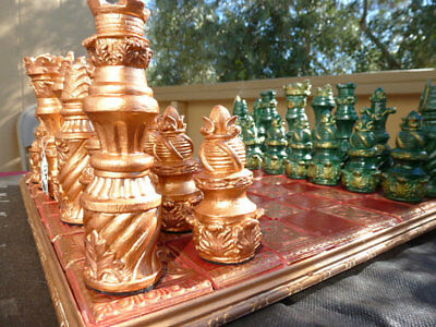 VERY LARGE Baroque Style Chess set. Customisable Colours (Pieces Only/Board Not
