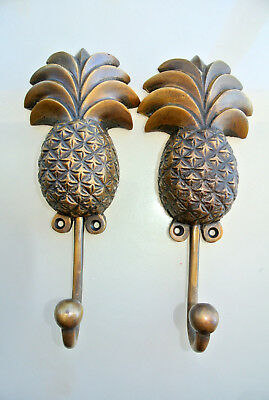 "2 large PINEAPPLE COAT HOOKS solid age brass antiques vintage old style 7"" hook"