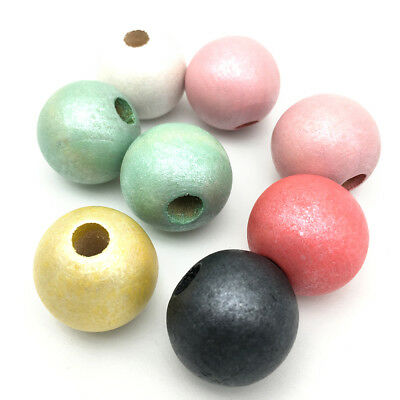 50Pcs Glitter Round Natural Wood Bead Painted Wooden Beads DIY Baby Jewelry 20mm