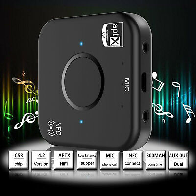 3.5mm Wireless Bluetooth V4.2 Receiver Transmitter AUX Audio Car Stereo Adapter